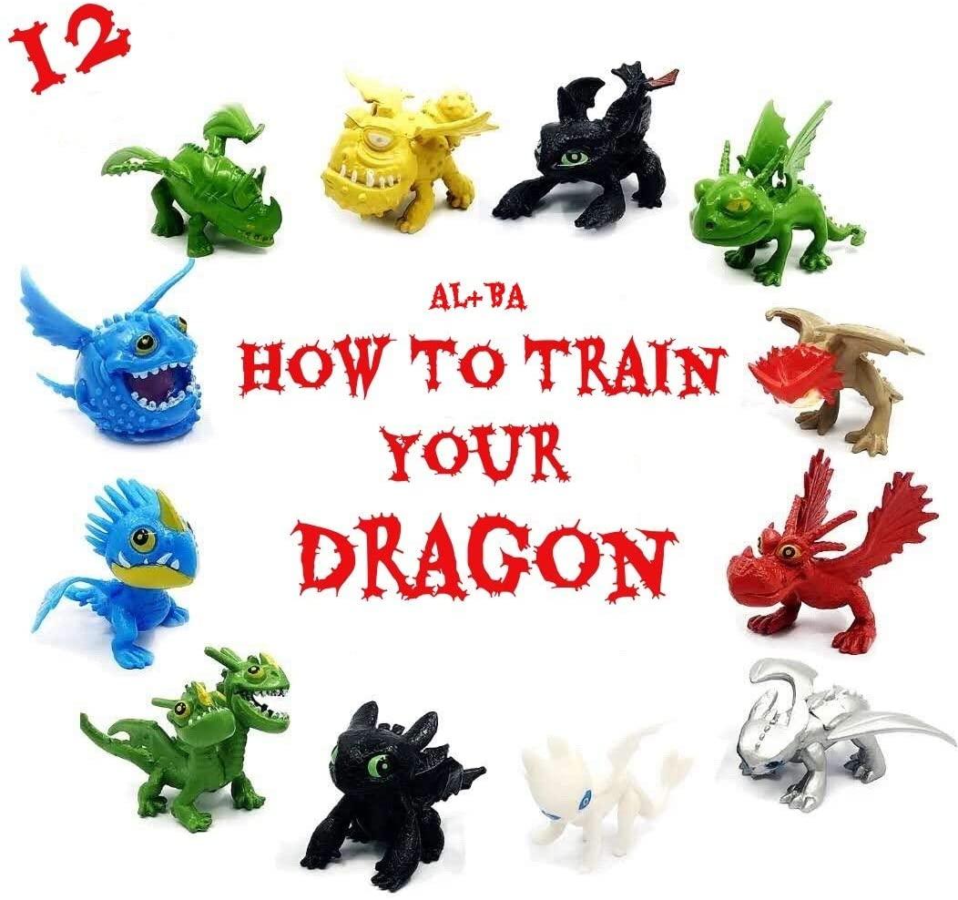 AL&BA Dragon Toys Mini Figures - Action Figures 12 pcs, Carry Bag