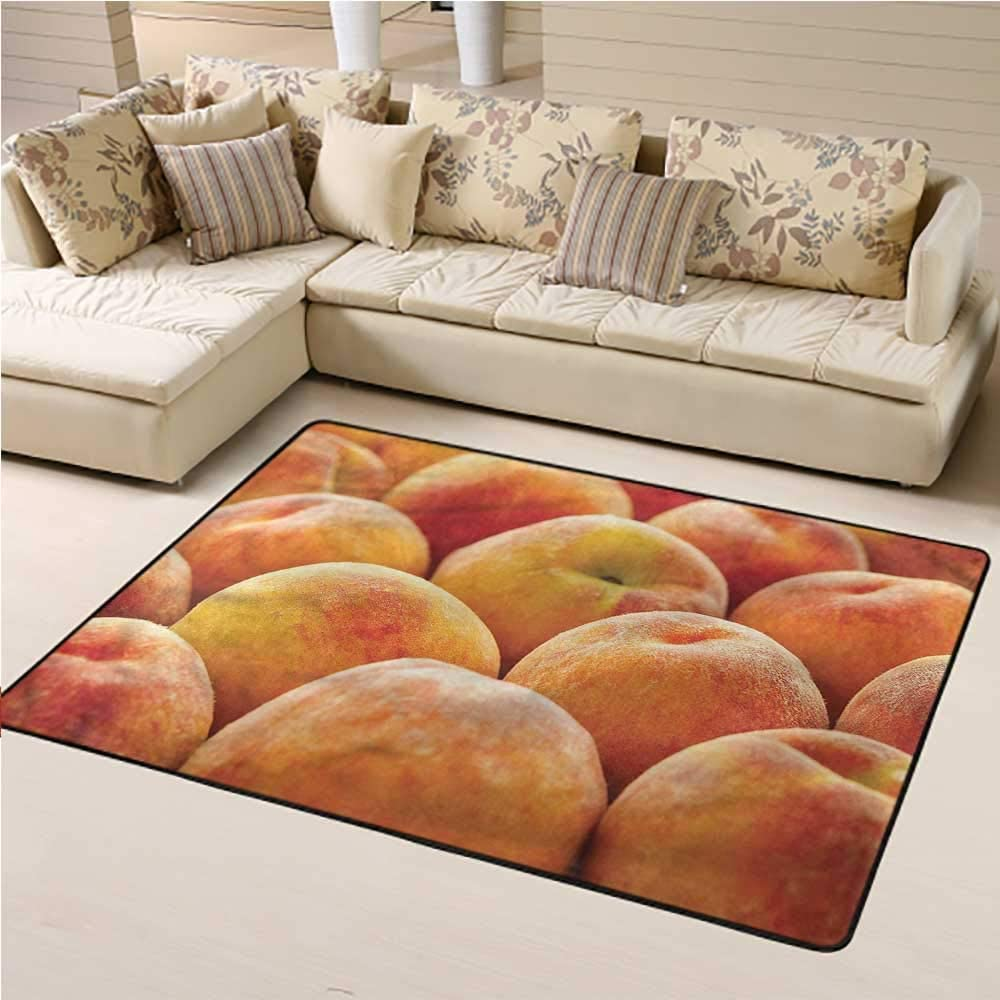 Carpet Peach, Nutritious Fruit Photo Baby Floor Playmats Crawling Mat for Bedroom Living Room Girls Kids Nursery 4 x 6 Feet