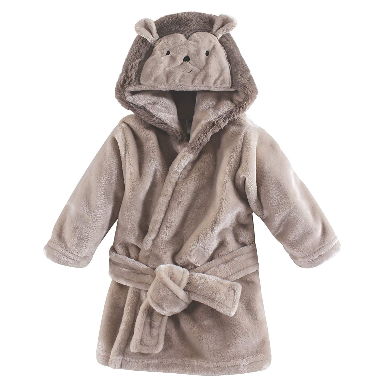 Hudson Baby Unisex Baby Plush Animal Face Robe, Hedgehog, One Size, 0-9 Months