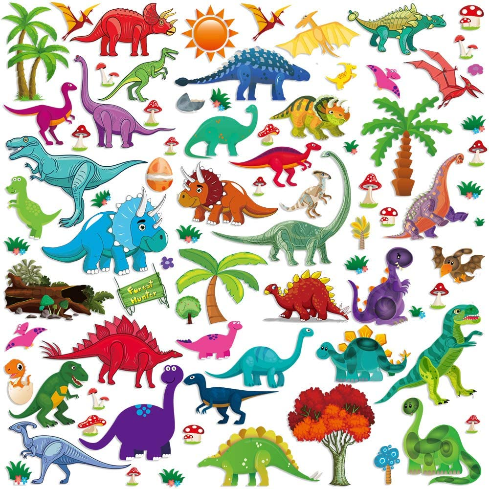 Wall Stickers - Decorative Dinosaur Stickers for Boys & Girls - 77pcs Colorful Assorted Dinosaur Wall Decals for Bedroom, Baby Nursery, Classroom, Playroom and More