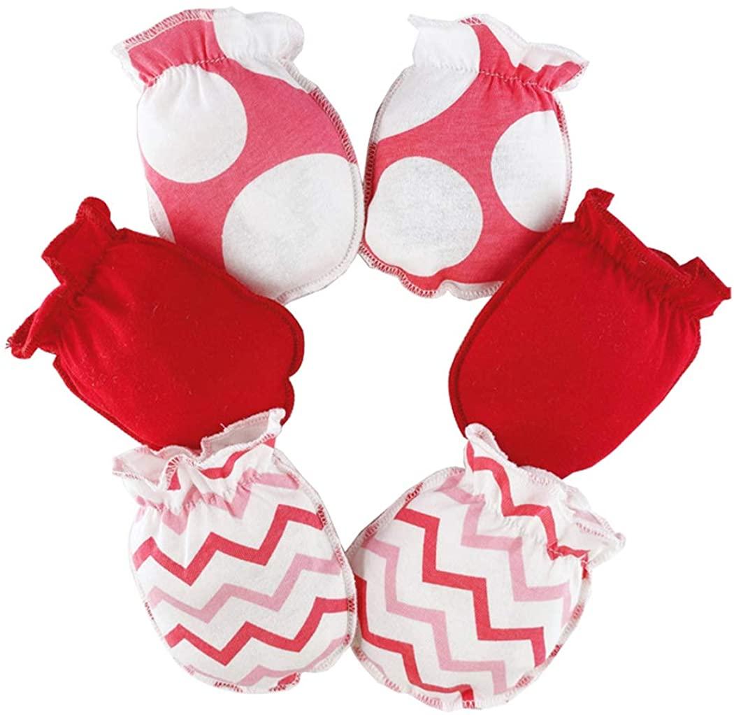 yeesport 3 Pairs Baby Mittens Anti-scratch Gloves Soft Elastic Baby Gloves Cotton Mittens for Newborn Babies