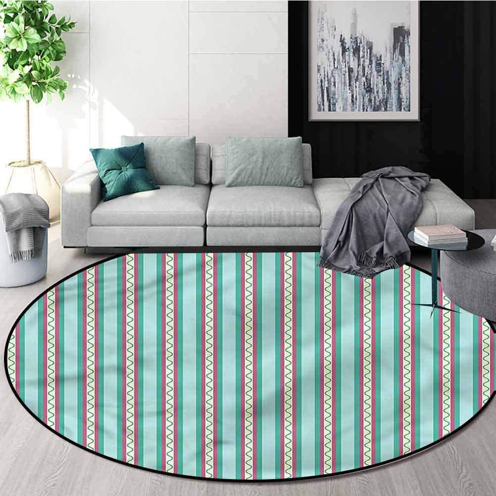RUGSMAT Geometric Super Soft Circle Rugs for Girls,Vertical Line Design Living Dinning Room and Bedroom Rugs Diameter-55