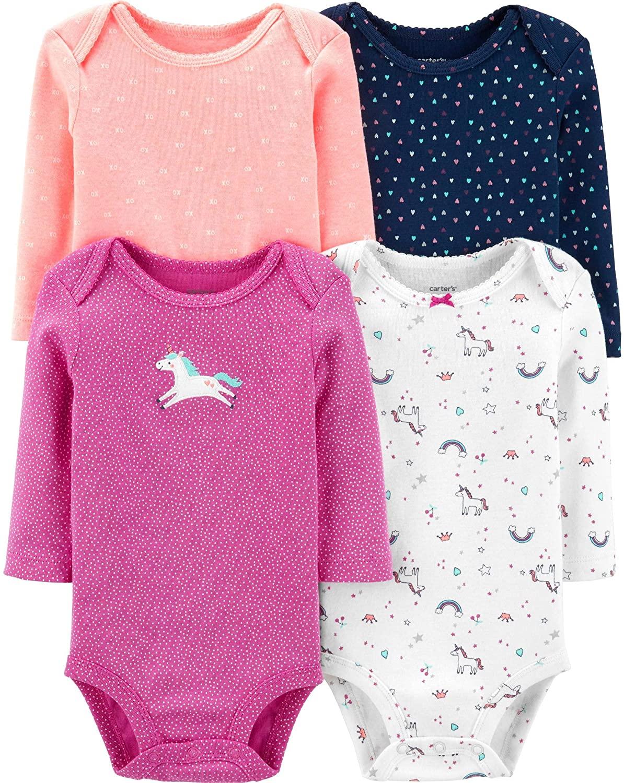 Carter's Baby 4 Pack Long Sleeve Bodysuit Set, Unicorn, 18 Months