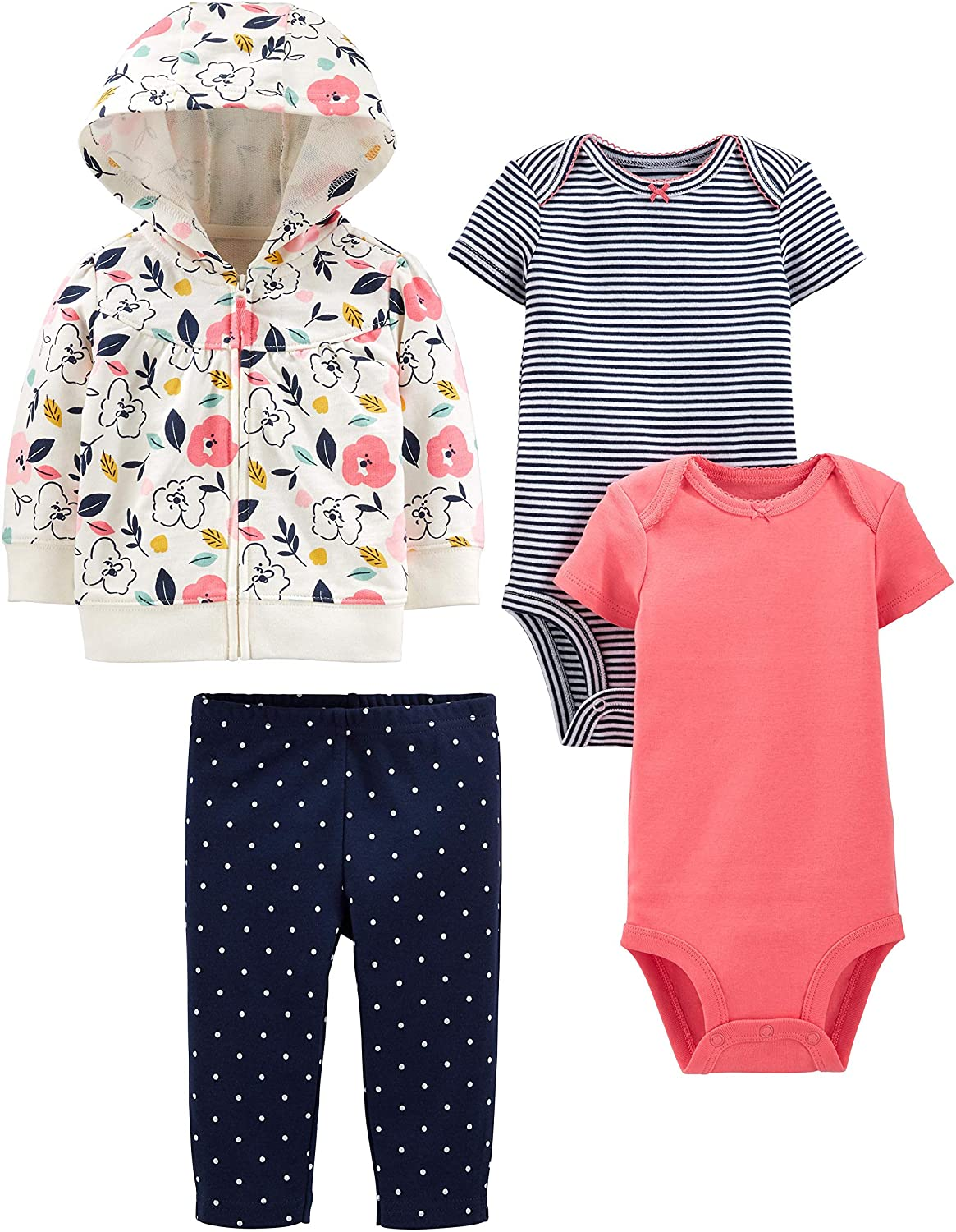Simple Joys by Carter's Baby 4-Piece Jacket, Pant, and Bodysuit Set, Floral, 6-9 Months
