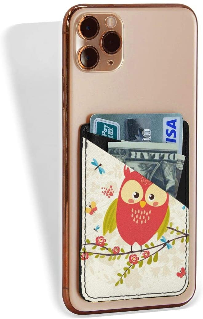 SLHFPX Cell Phone Pocket Cute Spring Owl Red Back of Phone Credit Card Holder, Stretchy Leather Stick On Wallet Card Holder Pocket for Phone Cellphone Smartphones Universal