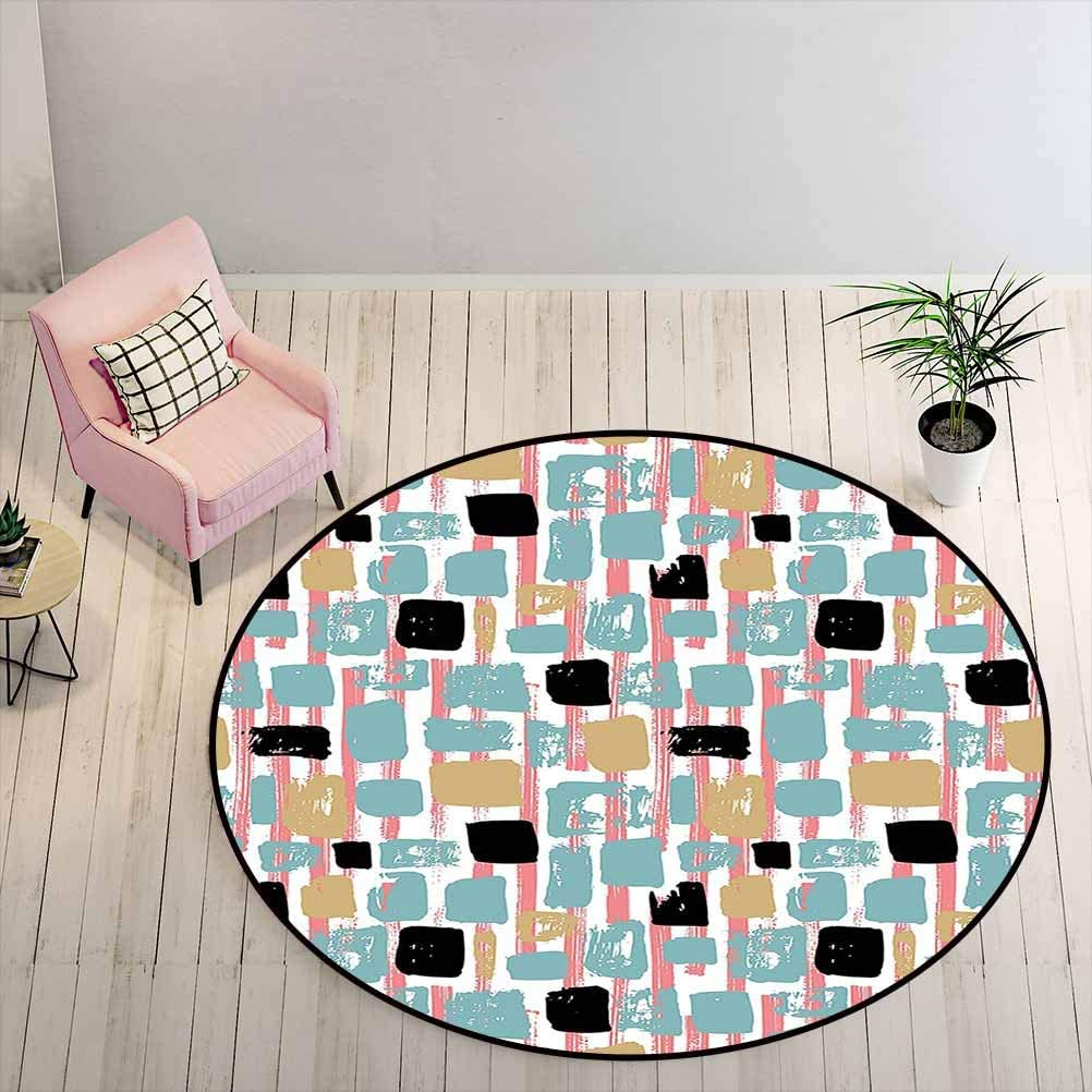 Kids Rugs for Bedroom Boys Geometric for Living Room Kids Room Grunge Hipster Themed Abstract Shapes Cool Retro Vibes Lines with Rectangles, 2 ft Diameter, Multicolor