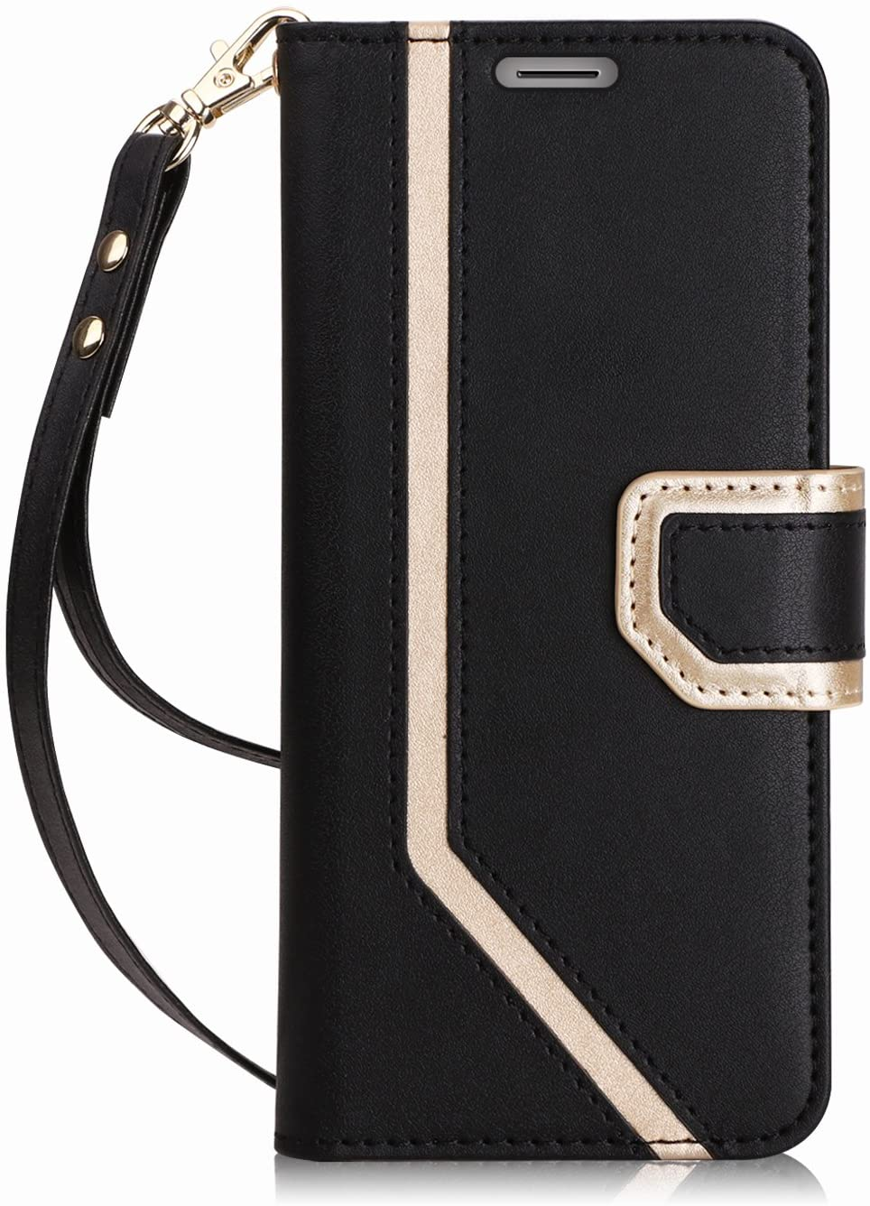 FYY Leather Case with Mirror for Samsung Galaxy S9 Plus, Leather Wallet Flip Folio Case with Mirror and Wrist Strap for Samsung Galaxy S9 Plus Black