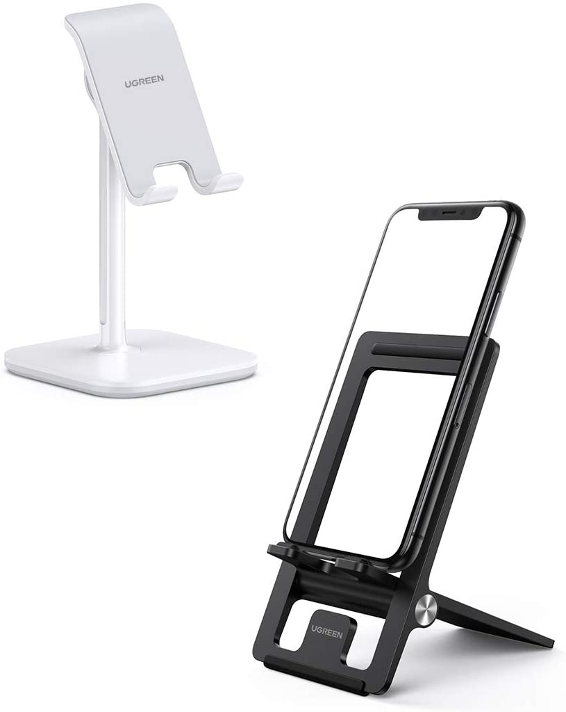 UGREEN Cell Phone Stand Desk Holder Bundle Adjustable Compatible with iPhone 11 Pro Max SE XS X XR 8 7 6 Plus 6S, Samsung Galaxy S20 Ultra S10 S9 S8 Note 10 9 8, LG G8 ThinQ, Android Phone