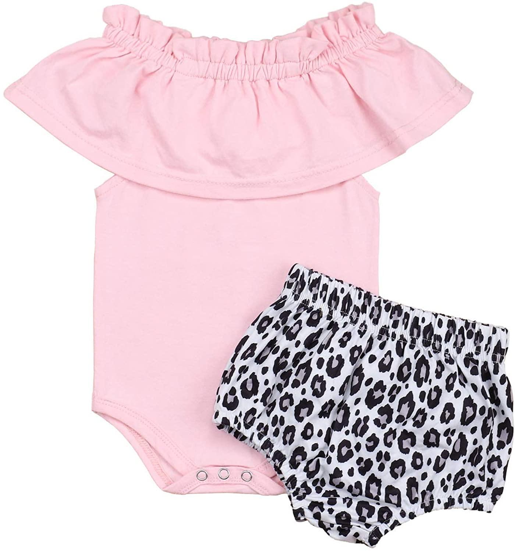 Newborn Baby Girl Jumpsuit Bodysuit Pink Sleeveless Ruffles Off-Shoulder Romper +Floral Shorts Summer Outfit Set
