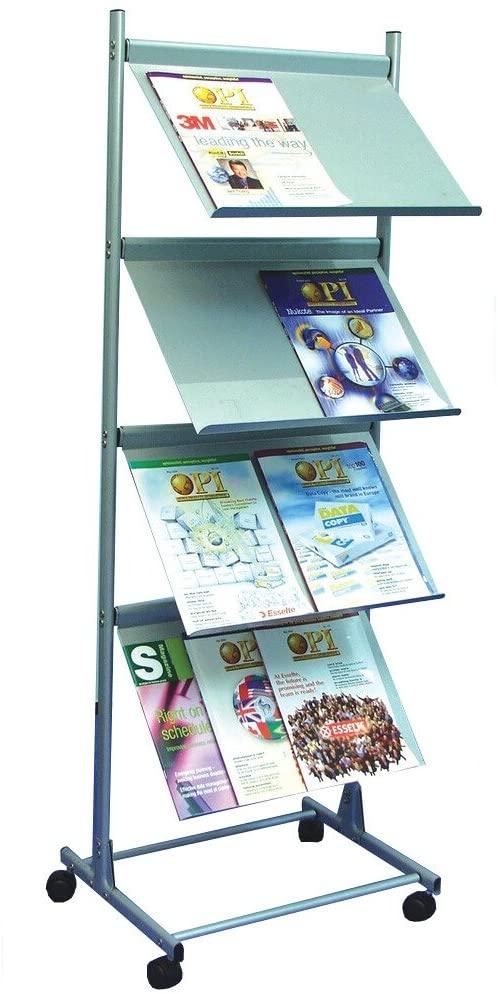 Deflecto A3 Free Standing 4 Shelf Literature Display Unit - Silver