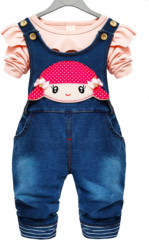 Chumhey Baby Little Girls Polka Dot Print Knitted Jeans Long Sleeve Shirt Cute Pants Set