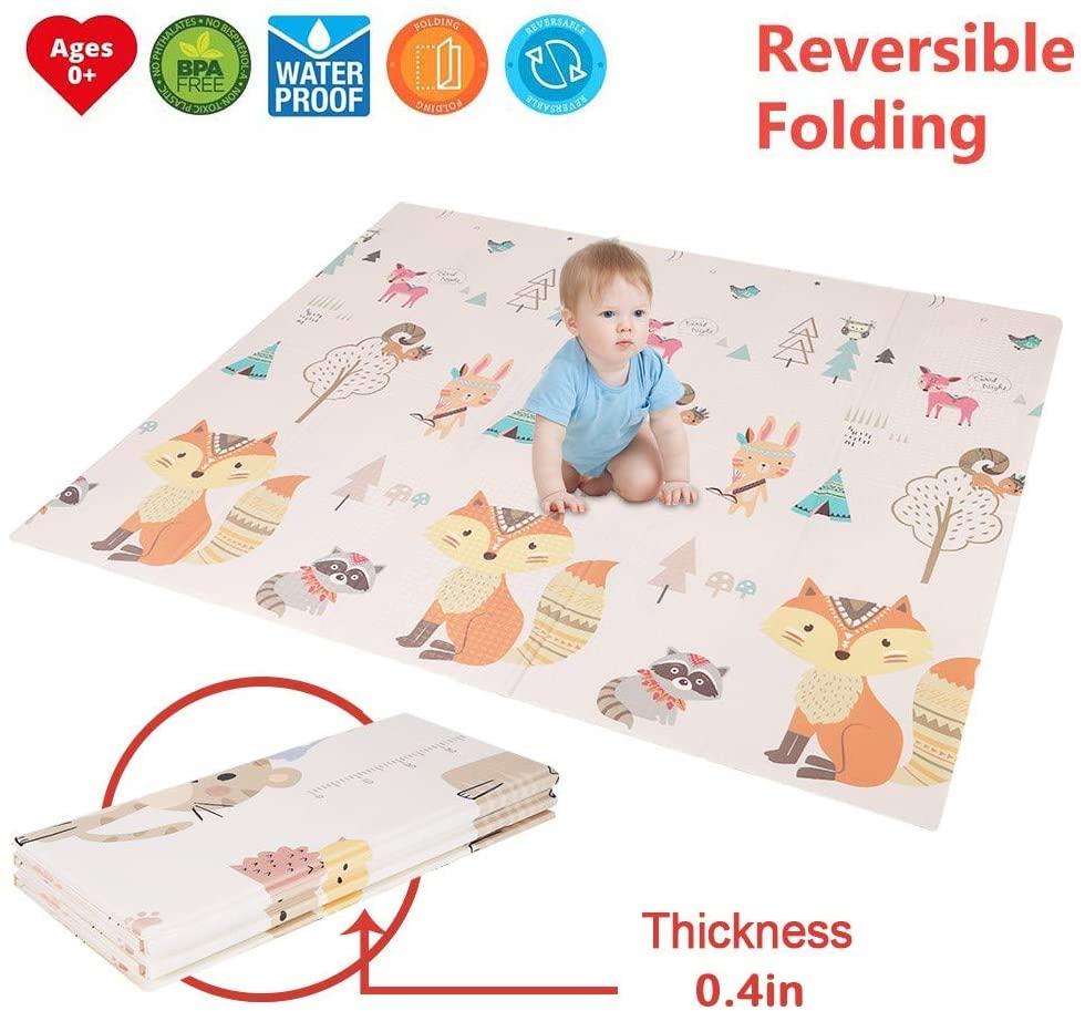 ZIPSAK Foldable Play Mat Large Tummy Timing Folding Reversible Baby Mats Baby Toddler Crawling Mat for Playroom