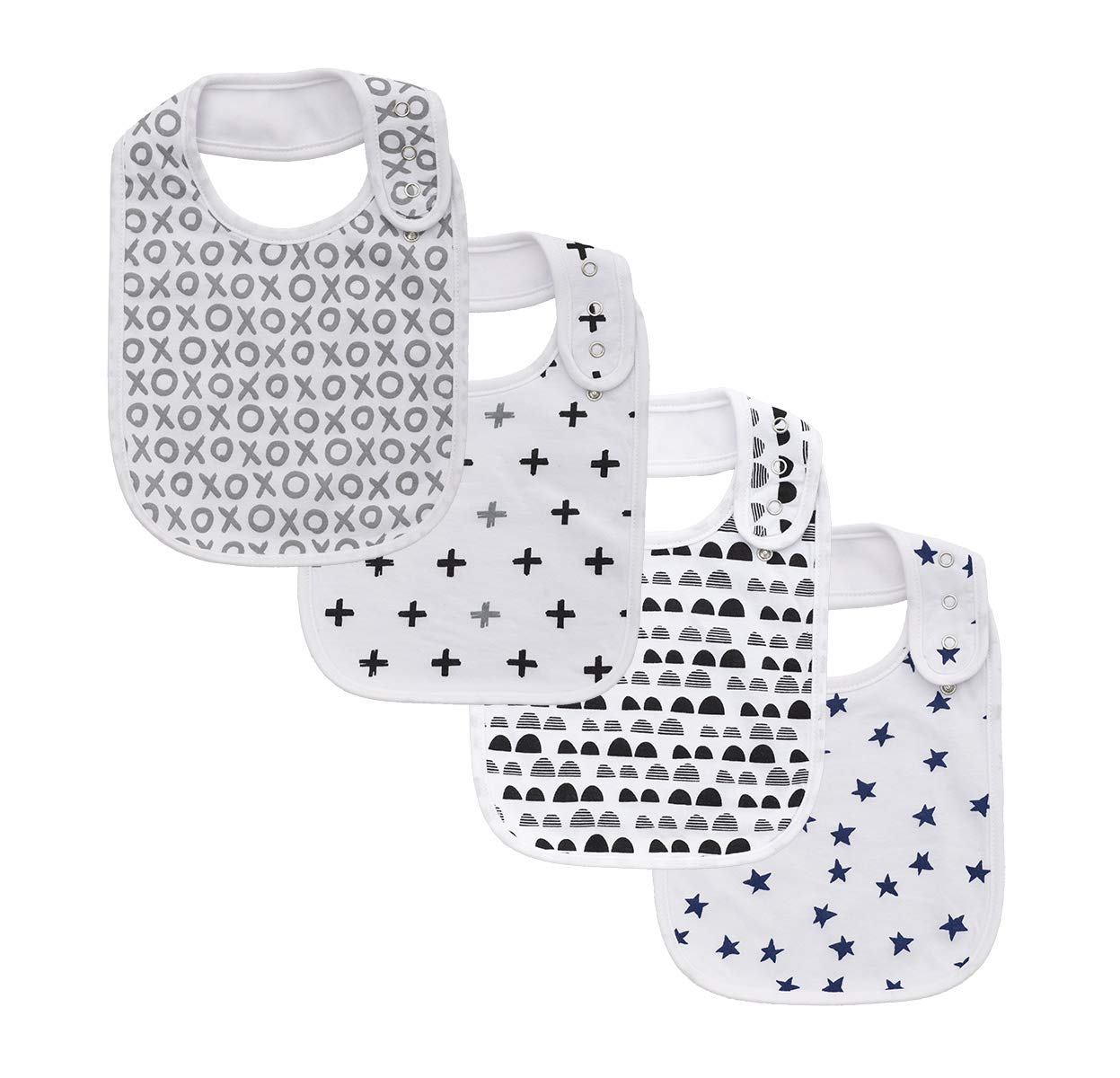 Large Snap Cotton Bibs for Baby Boys Feeding Drooling for 4 Pack…