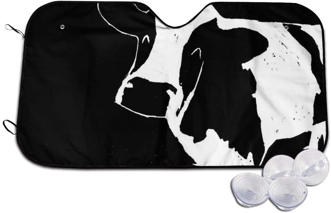 THONFIRE Car Windshields Sun Shade Abstract Black and White Milk Cow Blocks Heat Keeps Your Vehicle Cool Visor Protector SUV Front Window Heatshield