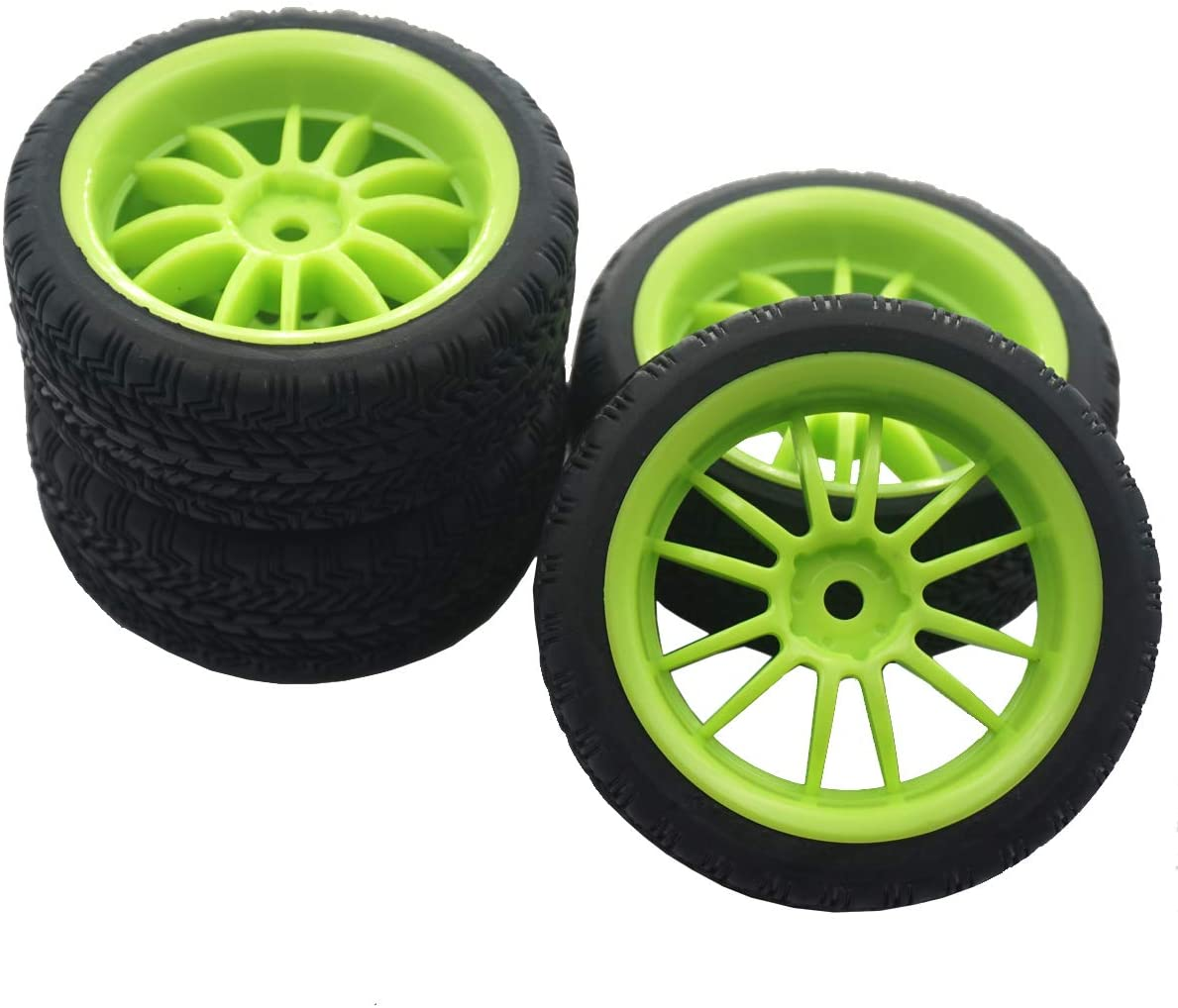 4Pack Mirthobby RC Rubber Tires and Plastic Wheel Rims 12mm Hex Hub for HSP HPI Redcat Tamiya RC 1/10 On Road Racing Touring Car