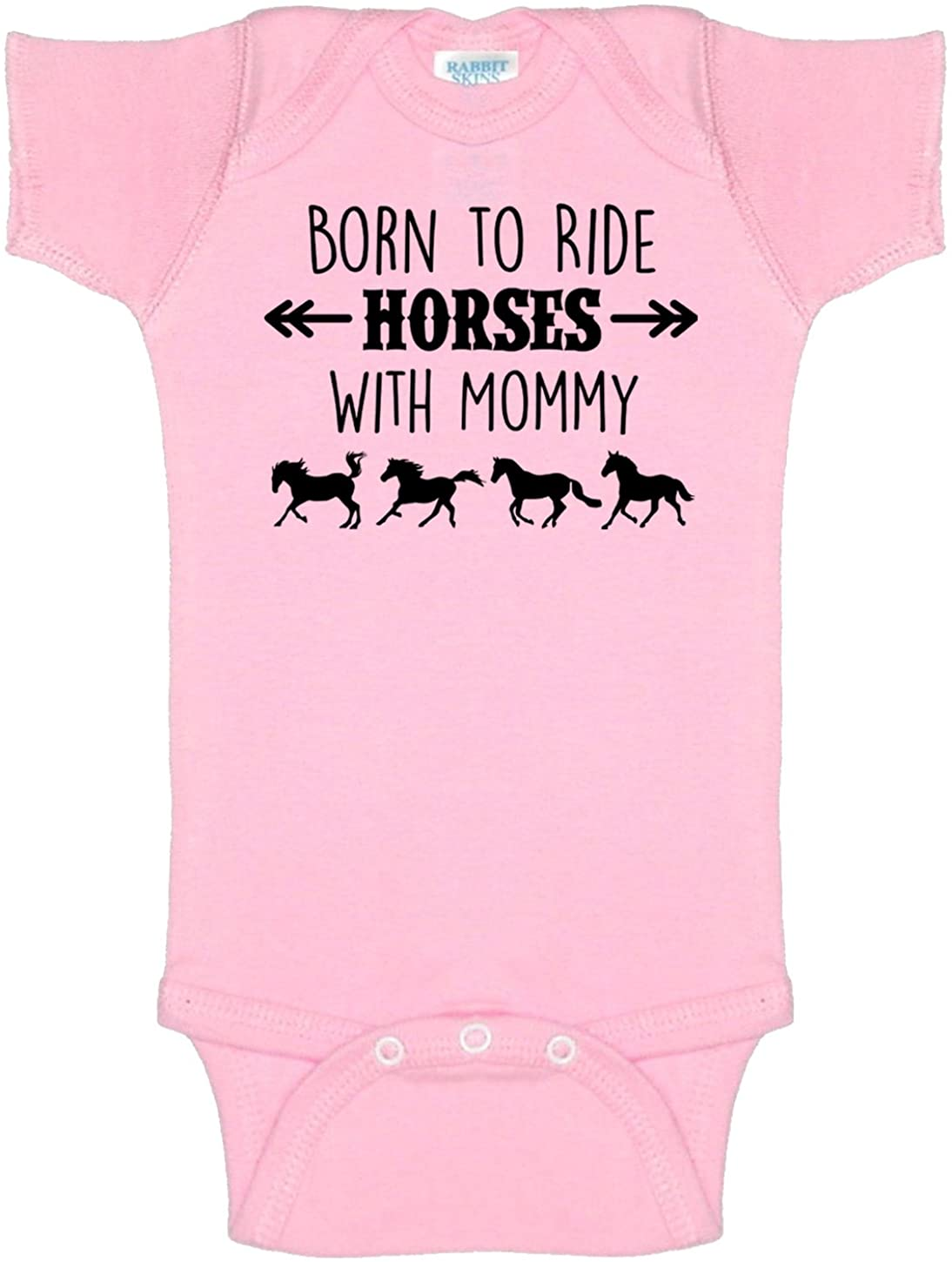 Born to Ride Horses with Mommy, Short Sleeve Horse Bodysuit, Baby Boy or Girl