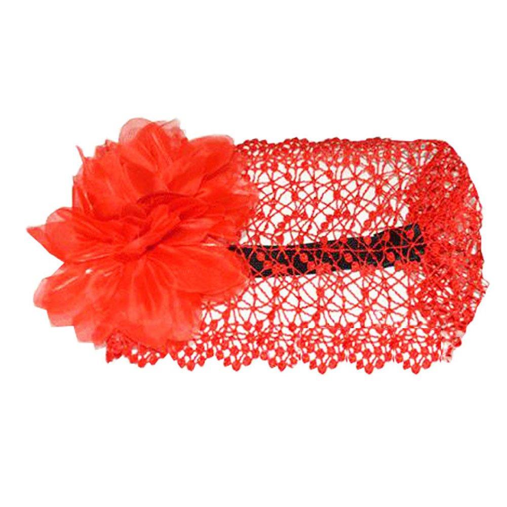 Beautiful Infant Baby Girl High Quaility Two Flowers Hair Band Headband-Red