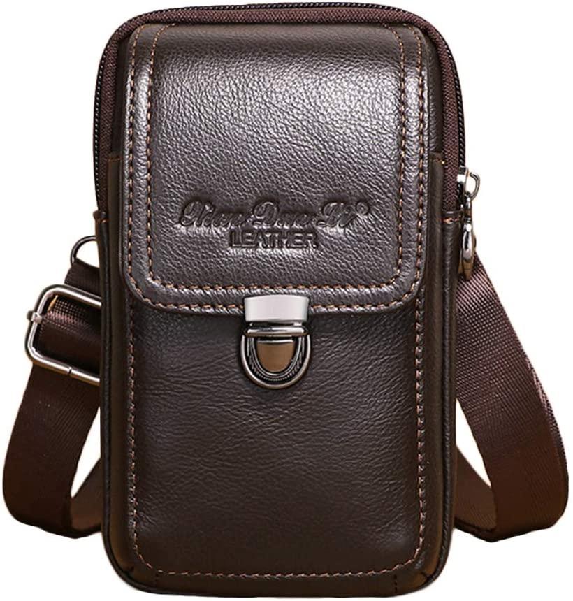 Leather Belt Loop Holster Case, Universal Waist Bag, Crossbody Bag, Belt Purse Compatible for 6.0