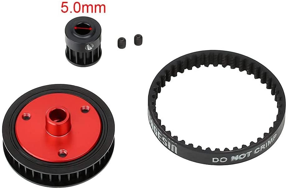 5.0mm Belt Drive Transmission Gears System for 1/10 RC Car Crawler Axial SCX10 & SCX10 II 90046 Upgrade Parts - Black