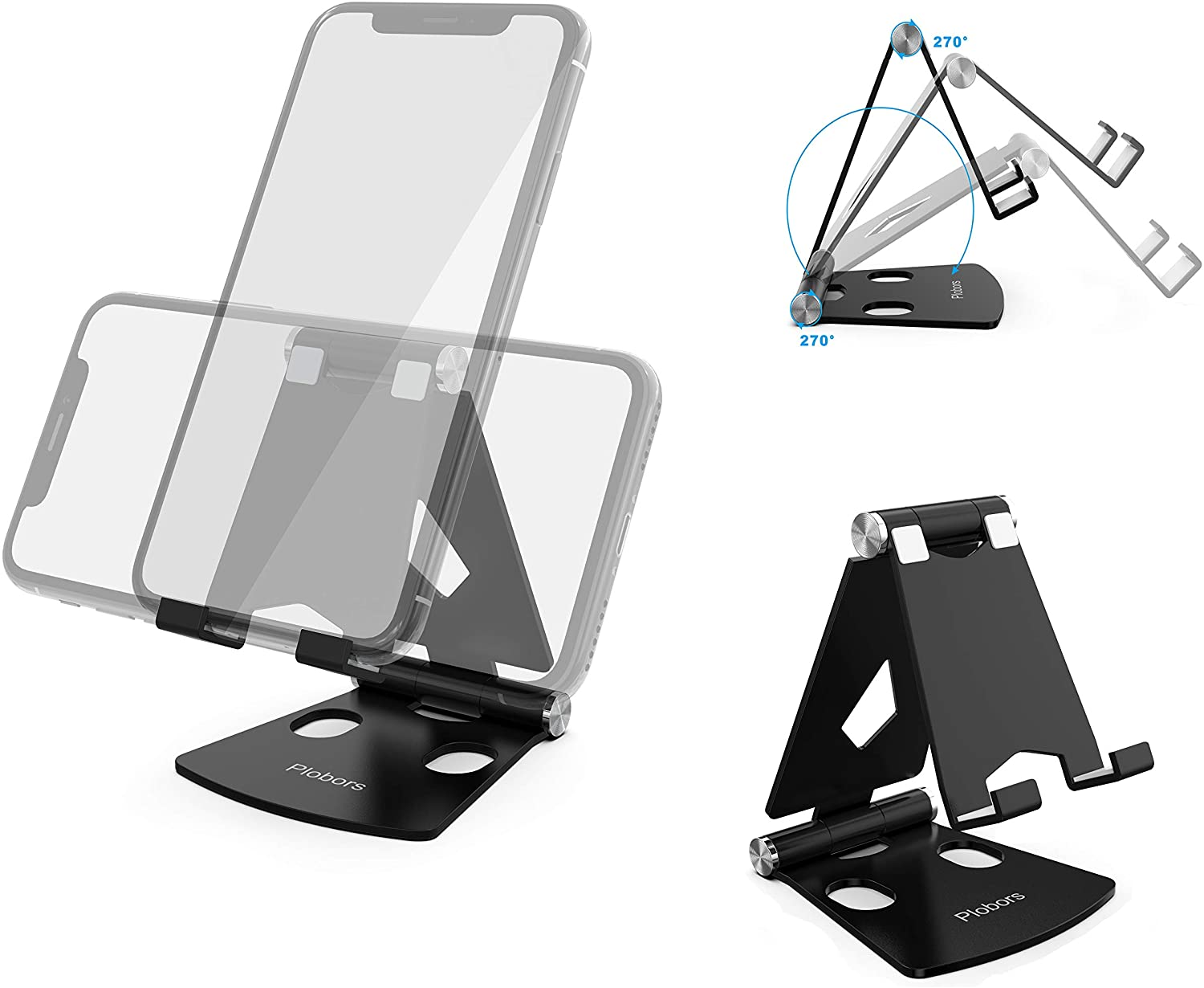Adjustable Desktop Cell Phone Stand - Double 270 Degrees Rotation Foldable Cell Phone Stand Compatible with iPhone Xs Max XR X 8 Plus Galaxy S9 S10 LG Note 8 Pixel 3 All Android Phone - Black