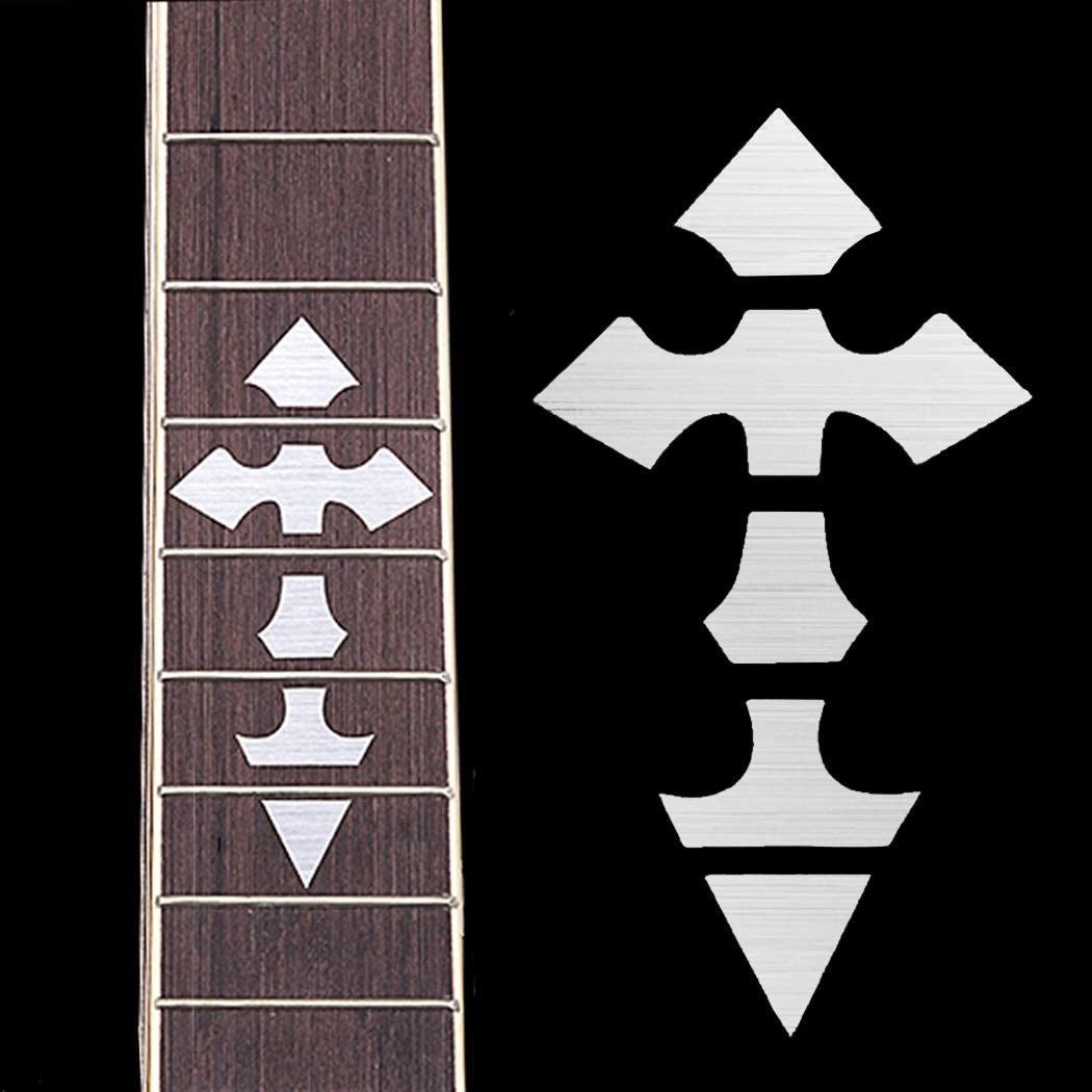 Universal Inlay Silver Cross Sticker for Acoustic Electric Guitar Bass DIY Neck Fretboard/Fret Markers Scale Decal Thin