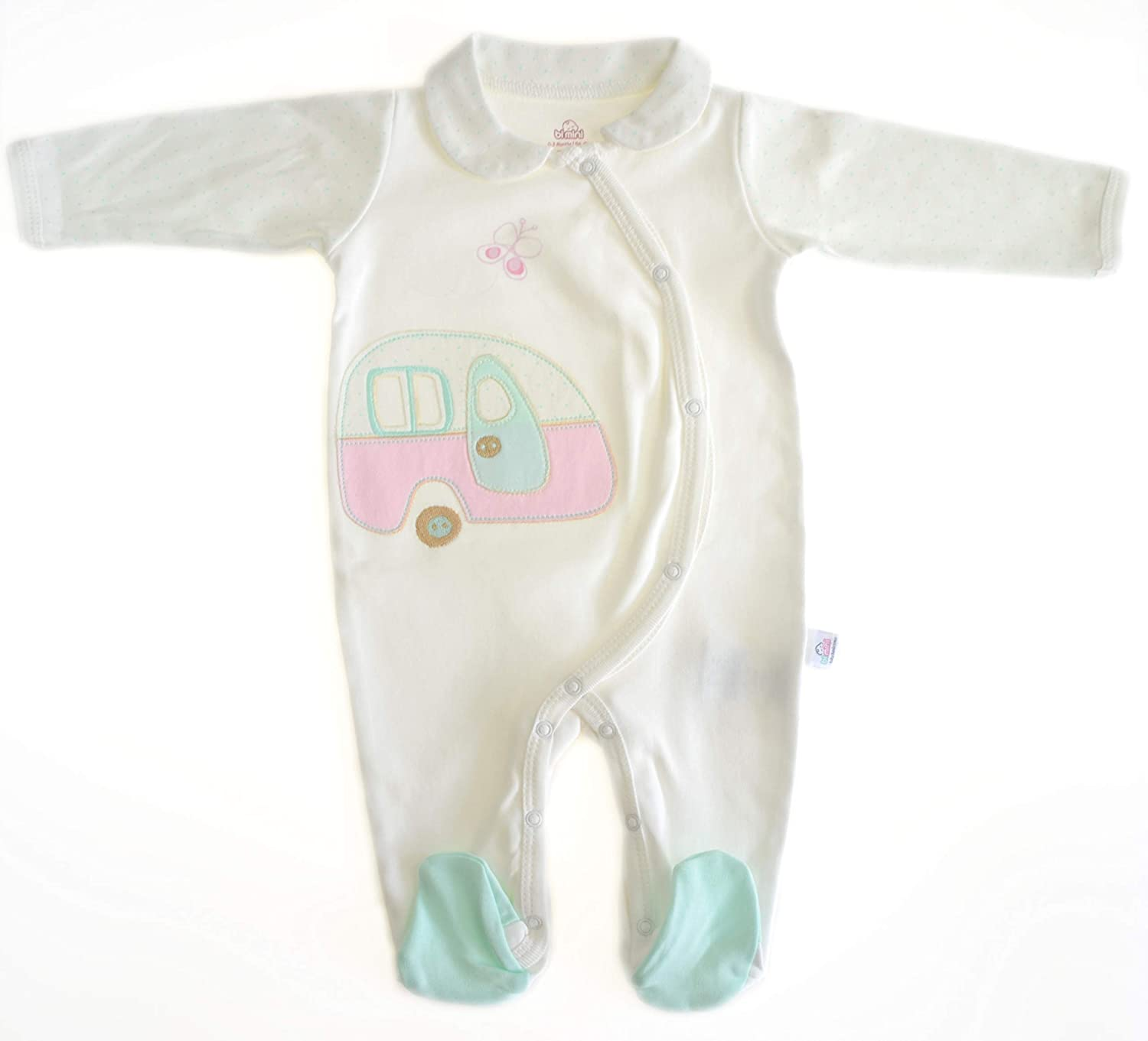 New Born Baby Girl White Play and Sleep. Footie 100% Cotton