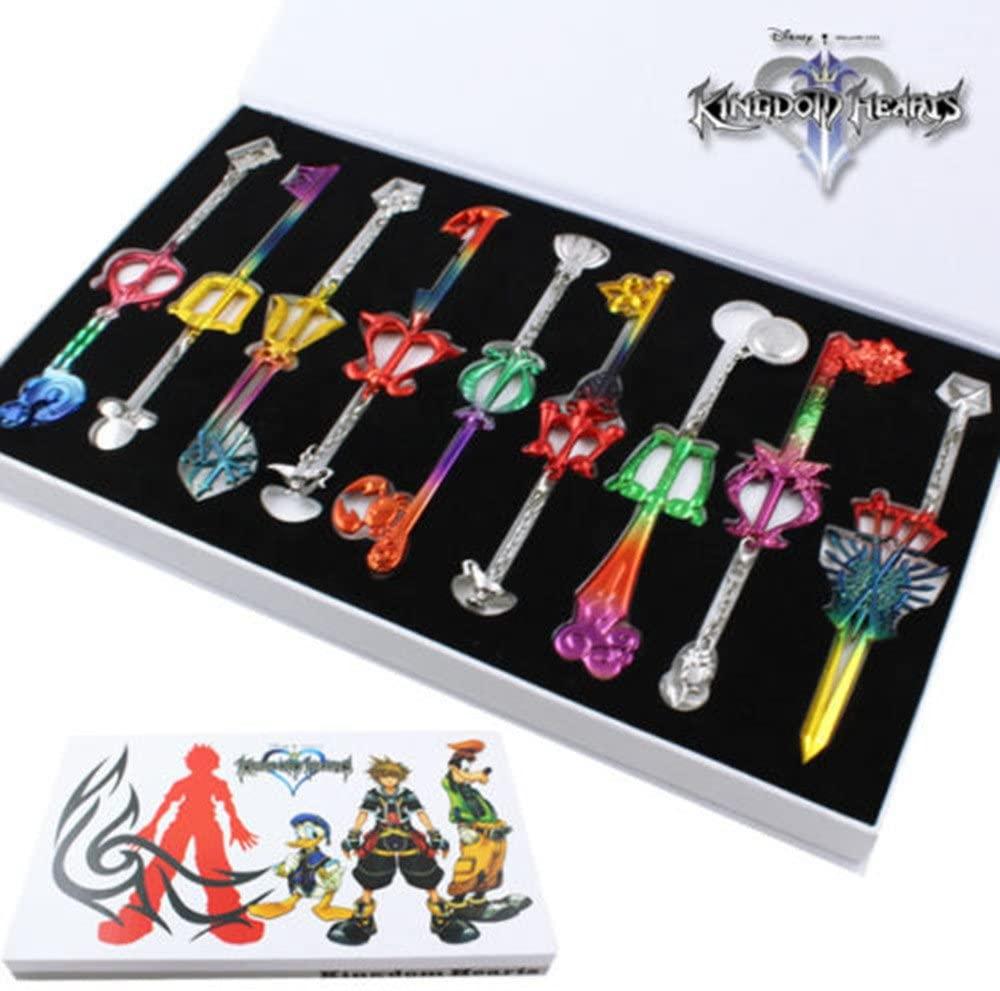 HiRudolph 9pcs Cosplay Kingdom Hearts 2 Sora Key Sword Keychain Accessories Necklace Set