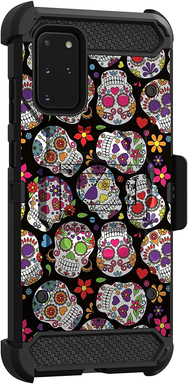 MINITURTLE Compatible with Samsung Galaxy S20 Plus (6.7) Triple Layer Belt Clip Holster Armor Kickstand Case [Max Guard] - Sugar Skulls