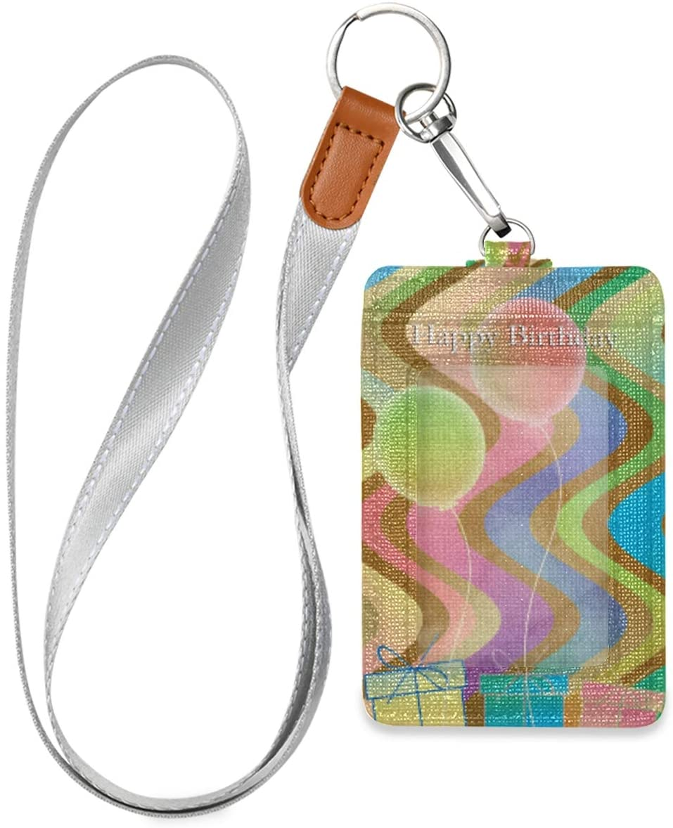 Id Badge Holder with Lanyard Happy Birthday Celebration Card Leather Vertical Id Badge Card Holder with 1 Clear Id Window for Women Men Kids, 2 Credit Card Holder Slots and 1 Detachable Neck Lanyard