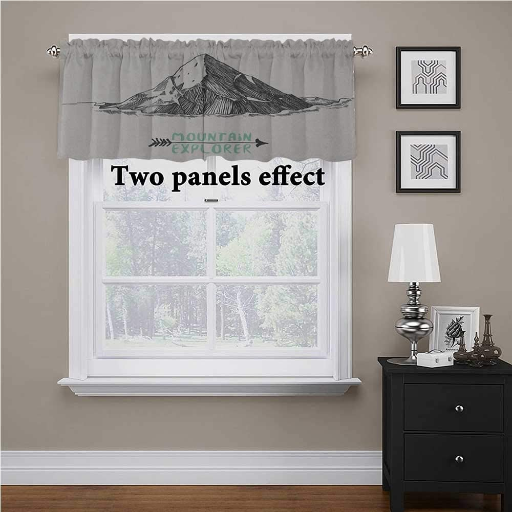 Explore Bedroom Blackout Valance Tier Sketch Style Mountain with an Arrow Exploring Themed Illustration for Kids Room/Baby Nursery/Dormitory Mint Green and Charcoal Grey, 60