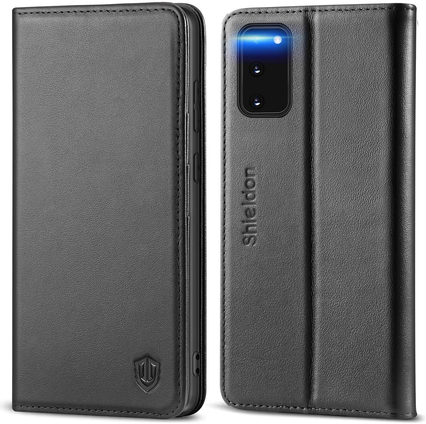 SHIELDON Galaxy S20 Case, Genuine Leather S20 Wallet Case RFID Protective Card Holder Folio Magnetic Case with Stand TPU Shockproof Interior Cover Compatible with Samsung Galaxy S20 5G (6.2