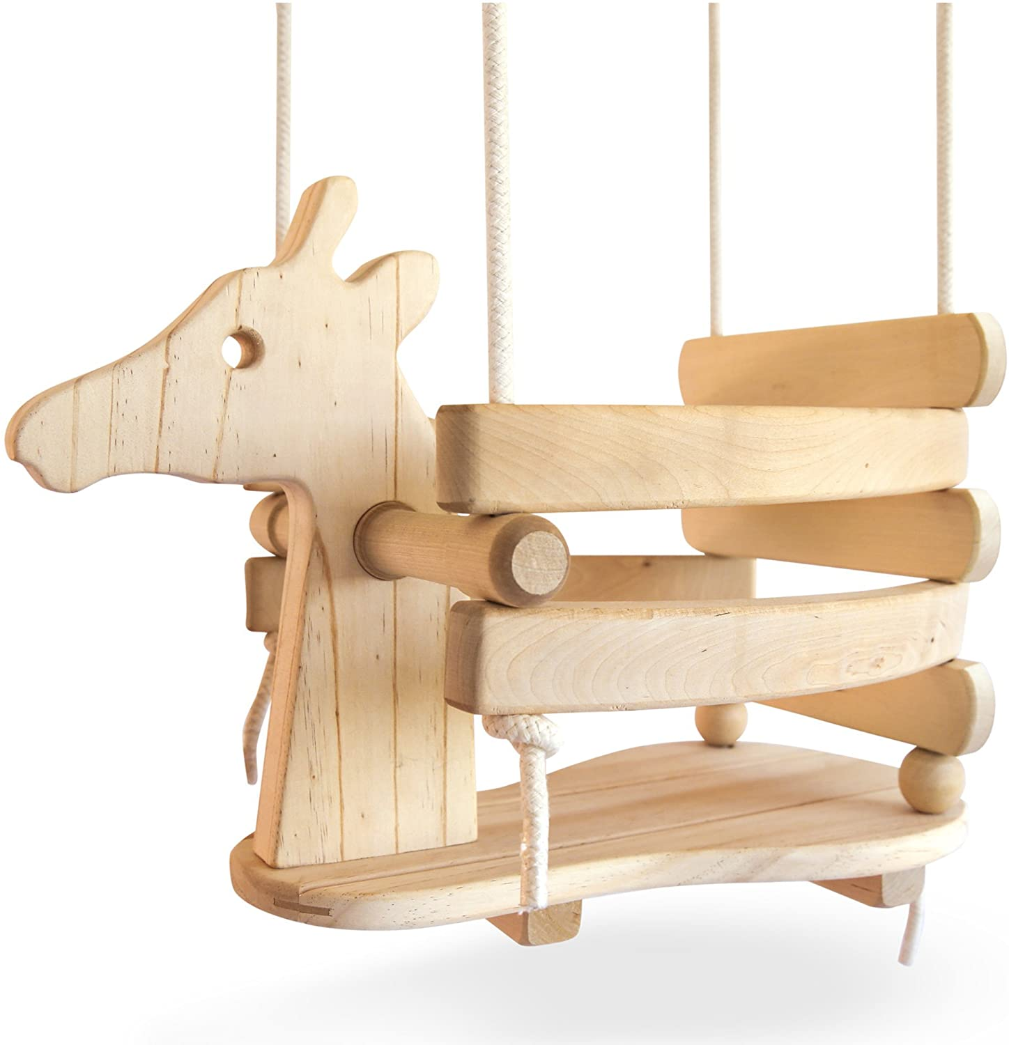 Wooden Giraffe Swing Set for Toddlers - Smooth Birch Wood with Natural Cotton Ropes Outdoor & Indoor Swing - Eco-Conscious Toddler Bucket Swing Chair, for Baby 6 Months to 3 Years Old