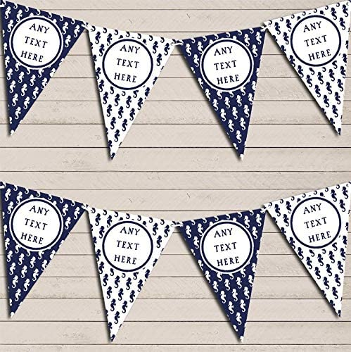 Seahorse Navy Blue Nautical Seashore Sailing Personalized Party Bunting Garland Banner Decoration