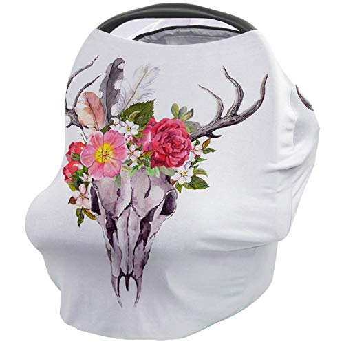 Car Seat Canopy Nursy Cover Antler, Multi Use Breastfeeding Scarf for Infant Carseat Canopy Stroller Shopping Cart Highchair Deer Animal Skull with Flowers and Feathers Vintage Artwork