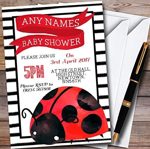 Cute Ladybird Ladybug Personalized Baby Shower Invitations