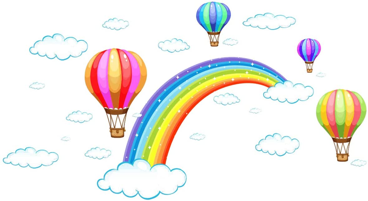 HERRA Rainbow Cloud Fire Balloon Wall Decal Wall Sticker, Home Decor Peel and Stick Removable Rainbow Cloud Fire Balloon Wall Stickers Wall Mural for Kids Nursery Bedroom Living Room