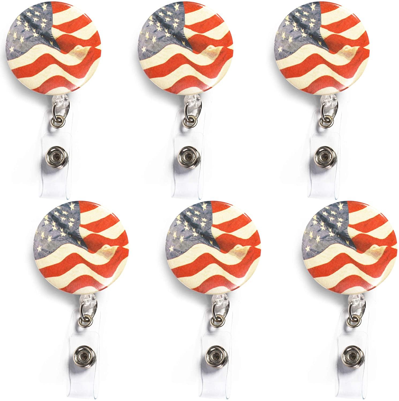 American Flag Retractable Badge Holders with Carabiner Reel Clip (24 in, 6 Pack)