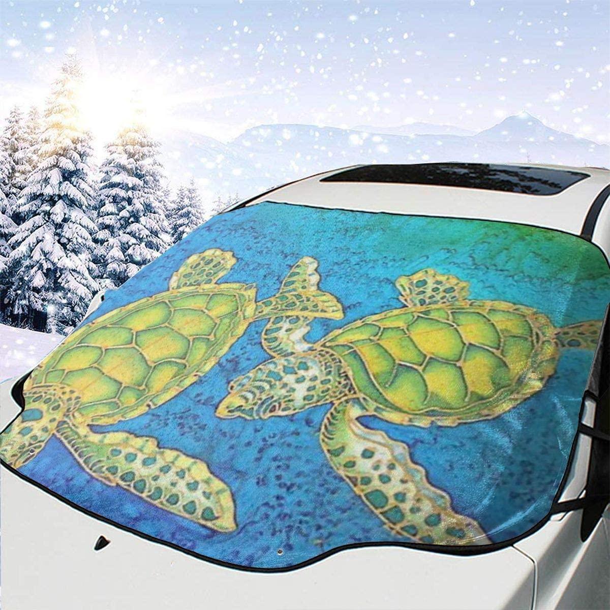 THONFIRE Car Front Window Windshields Frost Sun Shade Sea Turtles Cover Rainproof Blocks Heat Keeps Your Vehicle Cool Visor Protector Minivan Autumn Heatshield