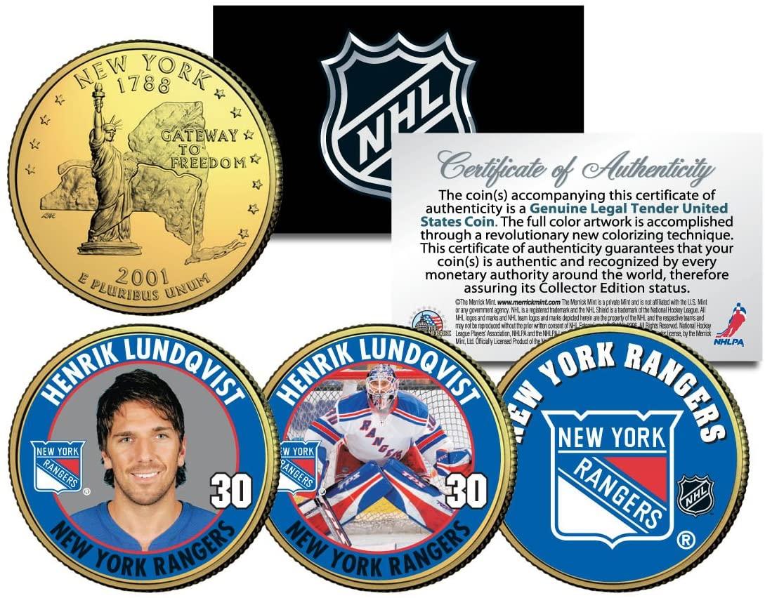 HENRIK LUNDQVIST RANGERS Colorized New York State Quarters U.S. 3-Coin Set