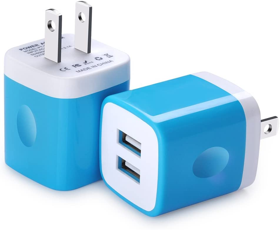 Charging Block, FiveBox Dual Port USB Wall Charger Brick Cube Charging Base Plug Phone Charger Box for Android, iPhone 8/X/6/6S/7 Plus, iPad, Samsung Galaxy S9 S8 S7 S6, Sony, LG, ZTE, Moto-2PC/Blue