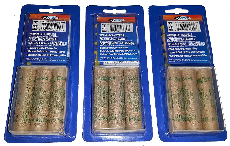 Estes B4-4 Mini Bulk Pack - 3 Packs of 3 for 9 Engines / Motors with Starters
