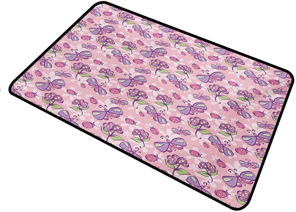 SeptSonne Door Mat Floral for Entrance Way Outdoors Funny Butterflies Flowers Cartoon Stylized Kids Girls Baby Playroom Nursery Theme Rectangle 35 x 47 inch Pale Pink Lavander