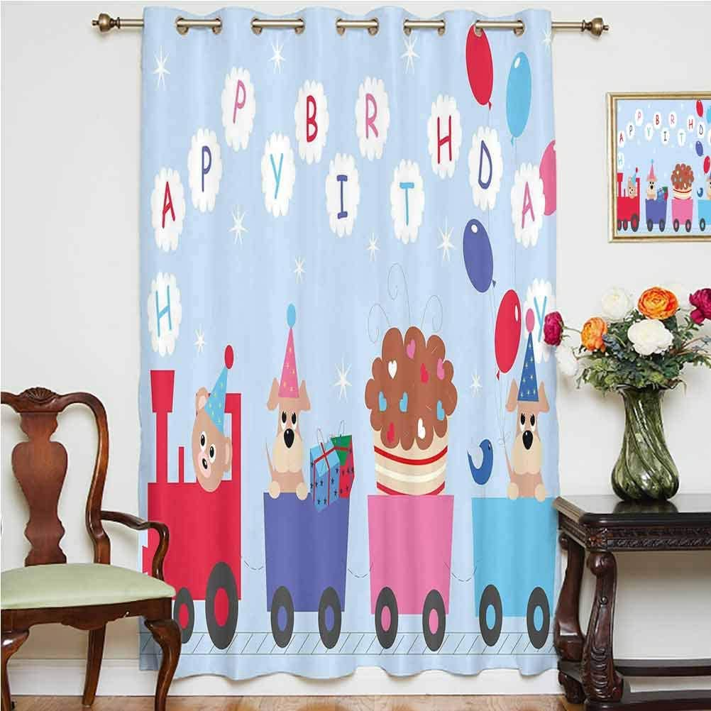 Birthday Decorations for Kids Sliding Door Curtain Baby Bear Dog in Train Balloons Clouds on Light Blue Backdrop Thermal Backing Sliding Glass Door Drape,Single Panel 63x72 inch,for Sliding Door Mult