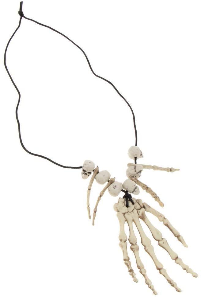 EBTOYS Skull Skeleton Hand Bone Necklace Halloween Jewelry Costume Fancy Dress for Women Men