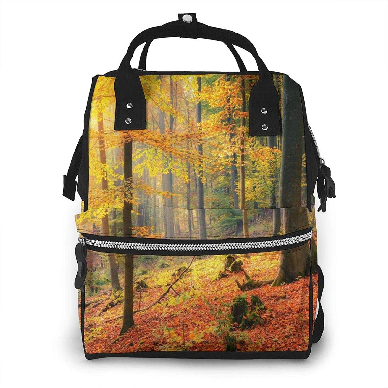 Autumn Forest Trees and Leaves Baby Diaper Bag Nappy Backpack Travel Shoulder Bag Large Capacity for Mommy Daddy