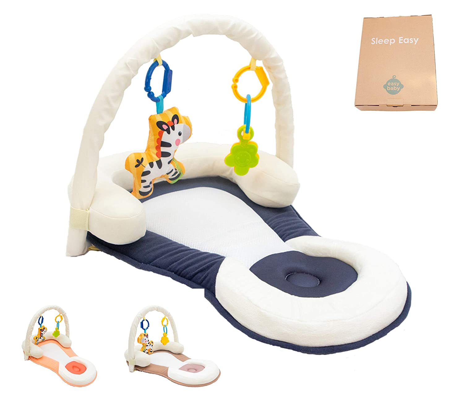 Easy Portable Baby Bed with Head Support- Non-Toxic, Foldable, Adjustable, Travel Bed Newborn Lounger (Blue)