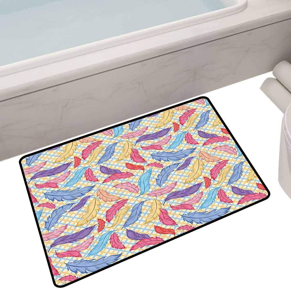 Non Slip Bath Mat Different Vane Feather s Types on Square Shape Striped Backdrop Print,32X20 Rectangle All Weather mats