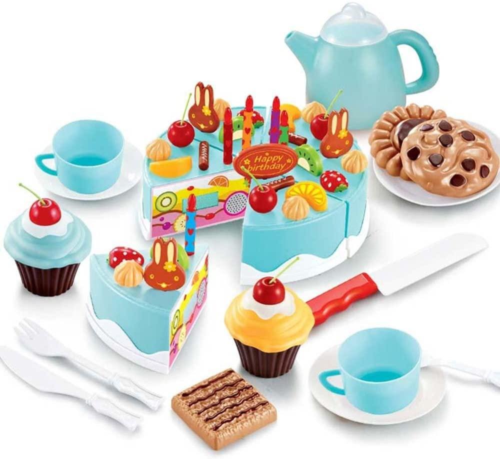 ShopMercimilo Play House Fruit Cutting Birthday Cake Kitchen Food Toy Cocina De Juguete Kids Toys Pink Blue Birthday Gift Toys for Girls Blue54pcs