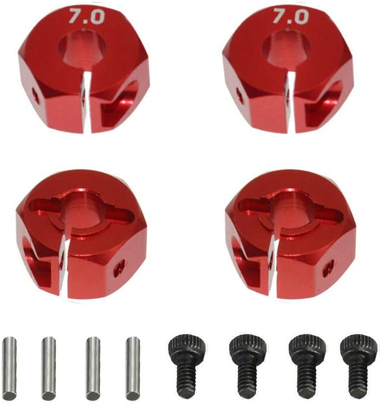 4PCS ShareGoo Aluminum Wheel Hex Hubs Mount 12mm Drive Adapter 7mm Thickness for HPI HSP Redcat Tamiya Traxxas RC4WD D90 1/10 RC Car Truck,Red
