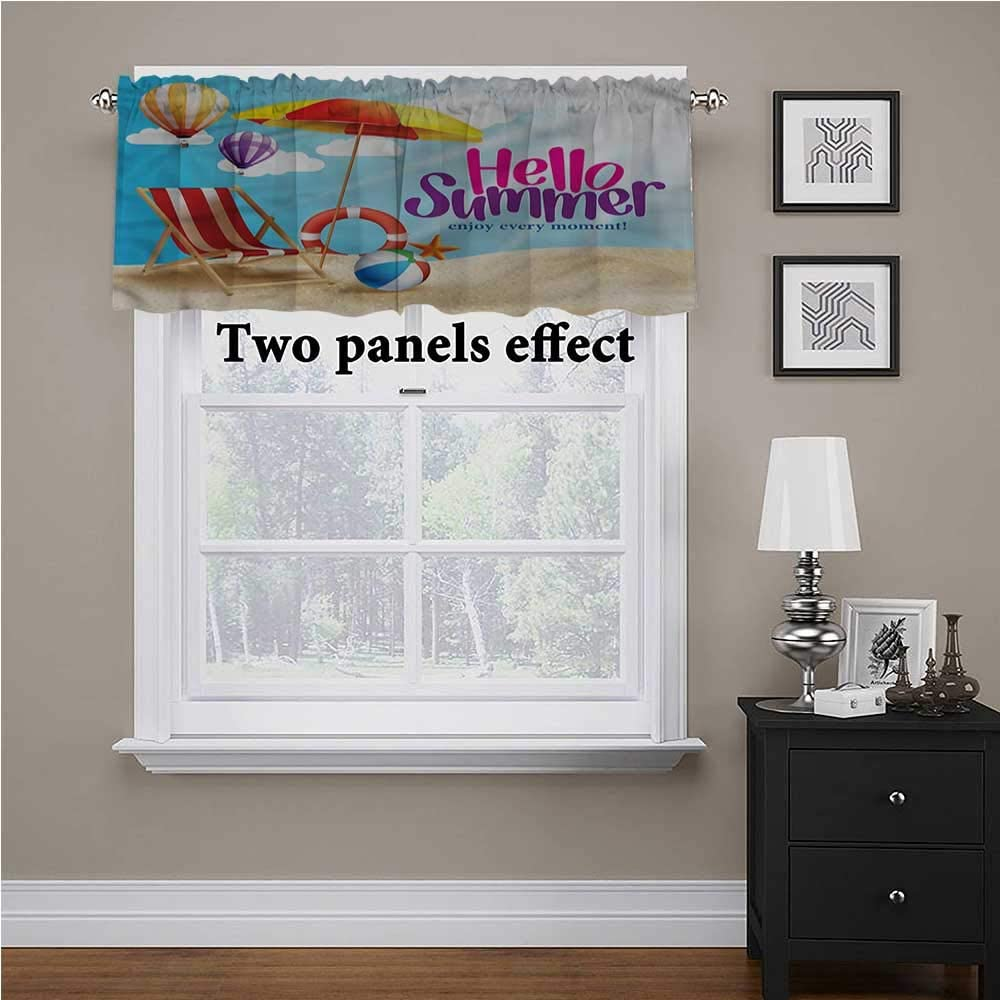 shirlyhome Lifestyle Window Treatment Supplies Hello Summer Relaxing for Kids Room/Baby Nursery/Dormitory, 56 Inch by 16 Inch 1 Panel